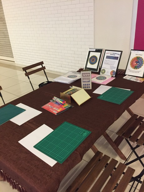 Mandala colouring workshop- day 1 set up