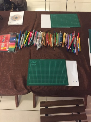 Mandala coloring workshop - Day 2 set up